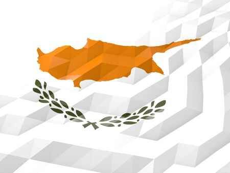 national symbol: Flag of Cyprus 3D Wallpaper Illustration, National Symbol, Low Polygonal Glossy Origami Style