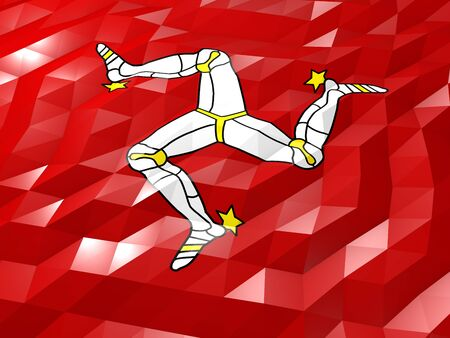 national symbol: Flag of Isle of Man 3D Wallpaper Illustration, National Symbol, Low Polygonal Glossy Origami Style