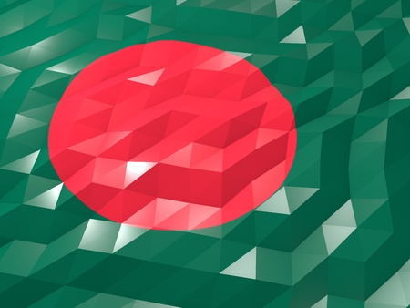 Flag of Bangladesh 3D Wallpaper Illustration, National Symbol, Low Polygonal Glossy Origami Style