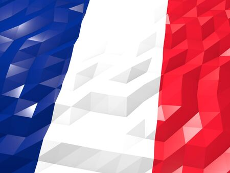 martin: Flag of Saint Martin (French part) 3D Wallpaper Illustration, National Symbol, Low Polygonal Glossy Origami Style