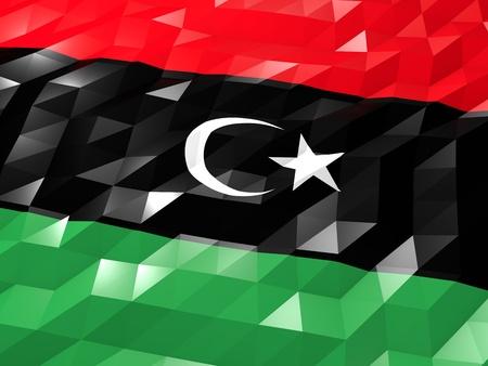 national symbol: Flag of Libya 3D Wallpaper Illustration, National Symbol, Low Polygonal Glossy Origami Style
