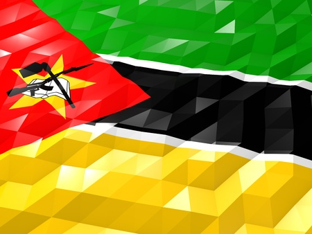 national symbol: Flag of Mozambique 3D Wallpaper Illustration, National Symbol, Low Polygonal Glossy Origami Style Stock Photo