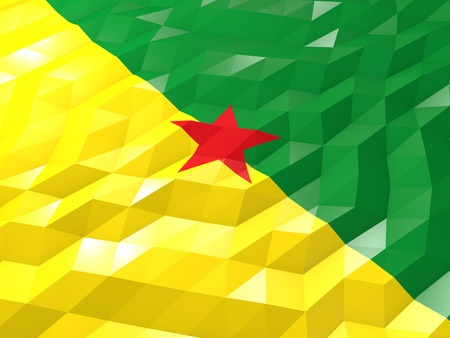 Flag of French Guiana 3D Wallpaper Illustration, National Symbol, Low Polygonal Glossy Origami Style