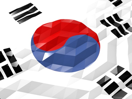 national symbol: Flag of South Korea 3D Wallpaper Illustration, National Symbol, Low Polygonal Glossy Origami Style