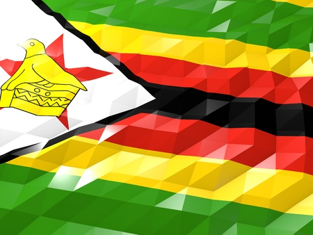 Flag of Zimbabwe 3D Wallpaper Illustration, National Symbol, Low Polygonal Glossy Origami Style