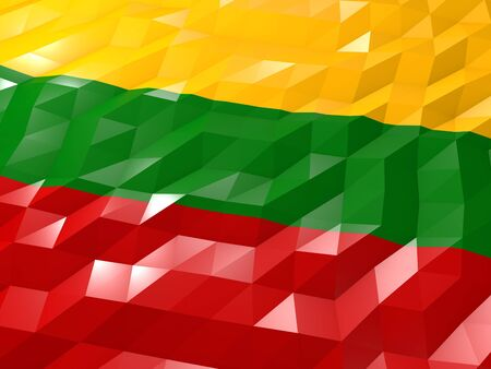 Flag of Lithuania 3D Wallpaper Illustration, National Symbol, Low Polygonal Glossy Origami Style Stock Photo