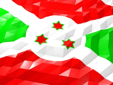 Flag of Burundi 3D Wallpaper Illustration, National Symbol, Low Polygonal Glossy Origami Style