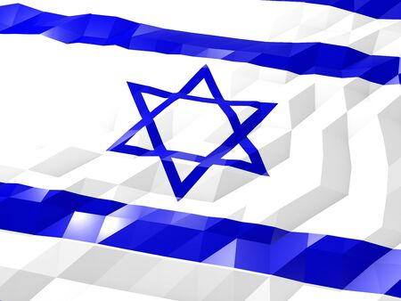 Flag of Israel 3D Wallpaper Illustration, National Symbol, Low Polygonal Glossy Origami Style