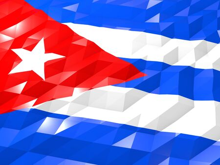 Flag of Cuba 3D Wallpaper Illustration, National Symbol, Low Polygonal Glossy Origami Style Stock Photo