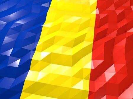 national symbol: Flag of Romania 3D Wallpaper Illustration, National Symbol, Low Polygonal Glossy Origami Style