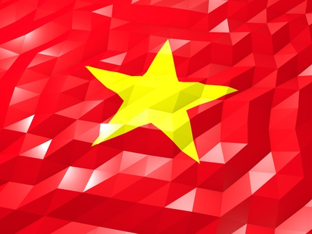 Flag of Vietnam 3D Wallpaper Illustration, National Symbol, Low Polygonal Glossy Origami Style Stock Photo