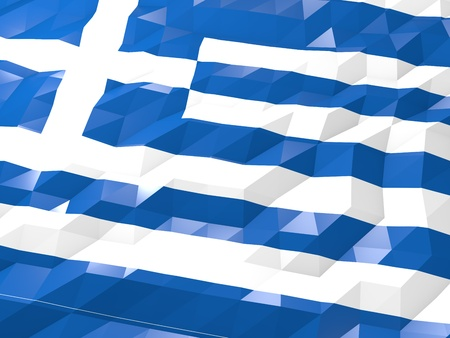 national symbol: Flag of Greece 3D Wallpaper Illustration, National Symbol, Low Polygonal Glossy Origami Style
