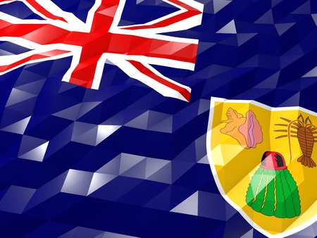 national symbol: Flag of Turks and Caicos Islands 3D Wallpaper Illustration, National Symbol, Low Polygonal Glossy Origami Style Stock Photo