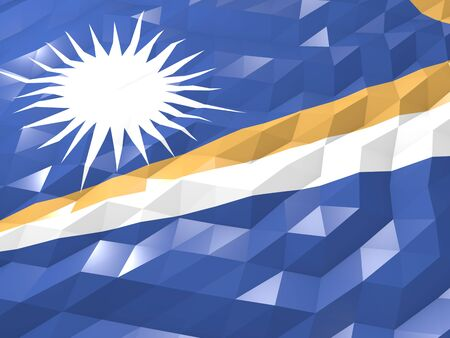 Flag of Marshall Islands 3D Wallpaper Illustration, National Symbol, Low Polygonal Glossy Origami Style