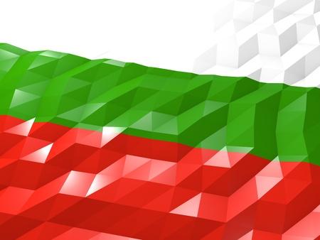 national symbol: Flag of Bulgaria 3D Wallpaper Illustration, National Symbol, Low Polygonal Glossy Origami Style