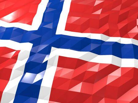 jan: Flag of Svalbard and Jan Mayen 3D Wallpaper Illustration, National Symbol, Low Polygonal Glossy Origami Style