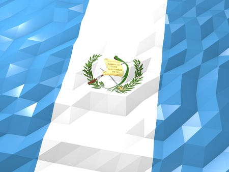 national symbol: Flag of Guatemala 3D Wallpaper Illustration, National Symbol, Low Polygonal Glossy Origami Style