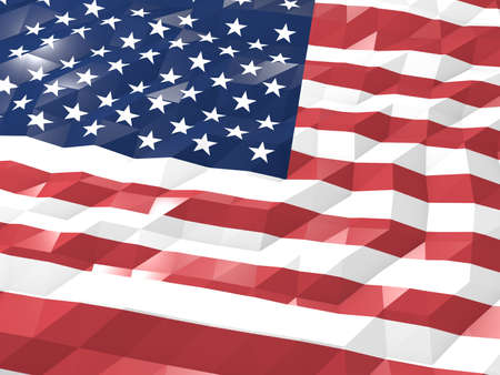 national symbol: Flag of United States Minor Outlying Islands 3D Wallpaper Illustration, National Symbol, Low Polygonal Glossy Origami Style Stock Photo