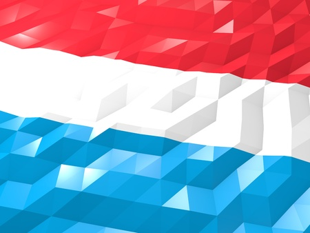 Flag of Luxembourg 3D Wallpaper Illustration, National Symbol, Low Polygonal Glossy Origami Style Stock Photo