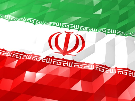 national symbol: Flag of Iran 3D Wallpaper Illustration, National Symbol, Low Polygonal Glossy Origami Style
