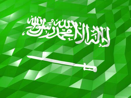 national symbol: Flag of Saudi Arabia 3D Wallpaper Illustration, National Symbol, Low Polygonal Glossy Origami Style