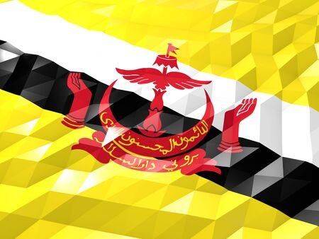 national symbol: Flag of Bermuda 3D Wallpaper Illustration, National Symbol, Low Polygonal Glossy Origami Style Stock Photo