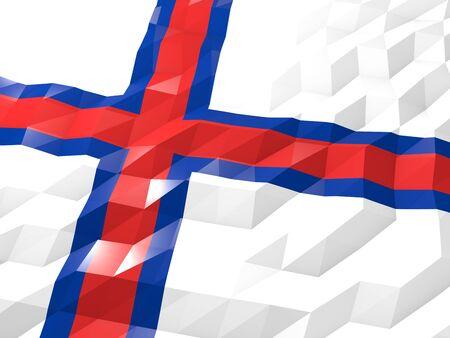 national symbol: Flag of Faroe Islands 3D Wallpaper Illustration, National Symbol, Low Polygonal Glossy Origami Style Stock Photo