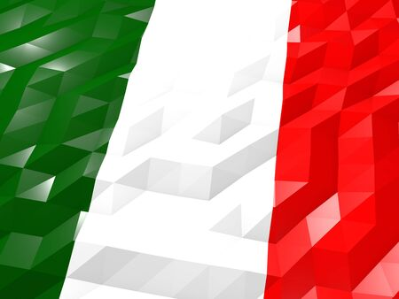 national symbol: Flag of Italy 3D Wallpaper Illustration, National Symbol, Low Polygonal Glossy Origami Style Stock Photo