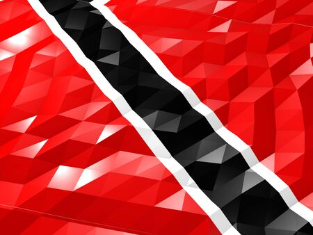 national flag trinidad and tobago: Flag of Trinidad and Tobago 3D Wallpaper Illustration, National Symbol, Low Polygonal Glossy Origami Style Stock Photo