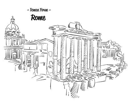 Roma Foro Romano Boceto Landmark famoso, a mano ilustraciones Esquema