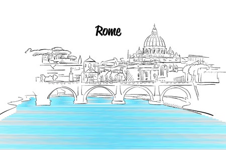 Rome Skyline Vacation Outline Sketch, Hand drawn Outline Artwork