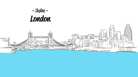 river thames: London Skyline Sketch, Hand drawn Outline Artwork