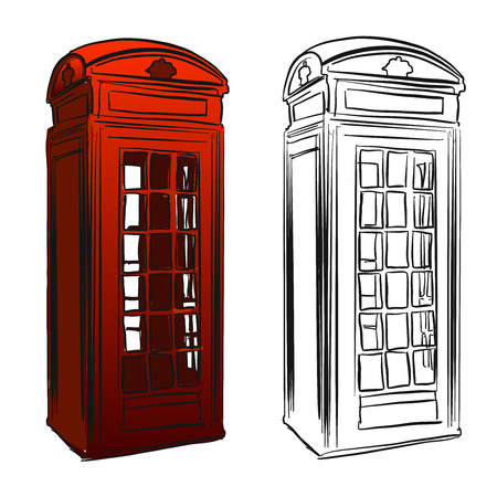 telephone box: London Old Telephone Box Sketch, Hand drawn Outline Artwork