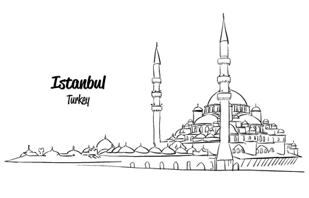 sultan: Istanbul Yeni Cami, New Mosque Sketch, Hand drawn Outline Artwork