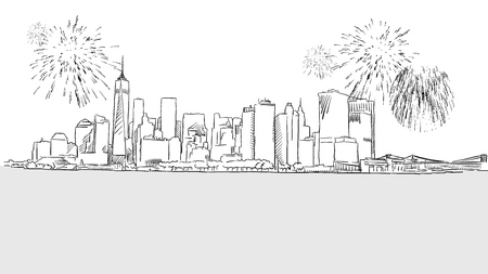 new york skyline: New York City Skyline Firework Sketch, Hand drawn Outline Artwork Illustration