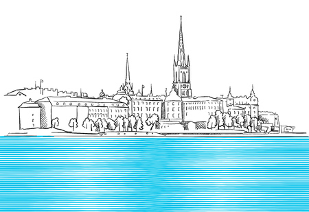 Stockholm Panorama with blue Water  Sketch, Hand drawn Outline Artwork