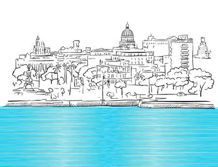 havana cuba: Havana Cuba Panorama with colored Sea Sketch, Hand drawn Outline Artwork