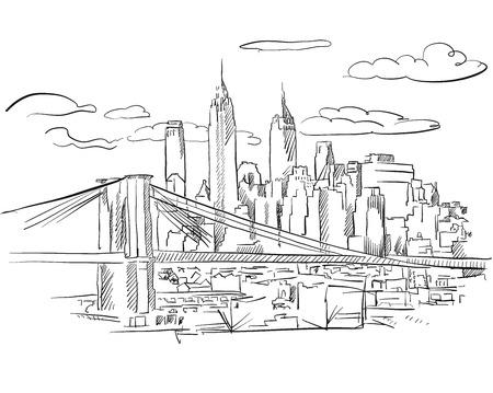 マンハッタンとブルックリン ブリッジが描かれたアウトラインのアートワークを手スケッチ、  イラスト・ベクター素材