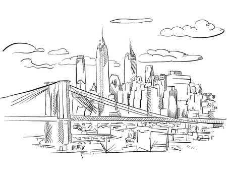 Manhattan and Brooklyn Bridge detailed Sketch, Hand drawn Outline Artwork