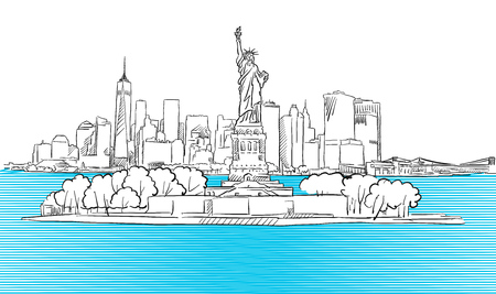 Liberty Statue with New York City Skyline Sketch, Hand drawn Outline Artwork