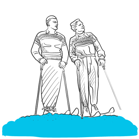 Two Vintage Skiing People looking into Sky, Hand drawn Outline Artwork Sketch Illustration