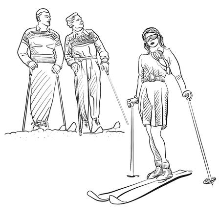 bocetos de personas: Esquema de época Moda Invierno Deporte Sketches, dibujado a mano ilustraciones