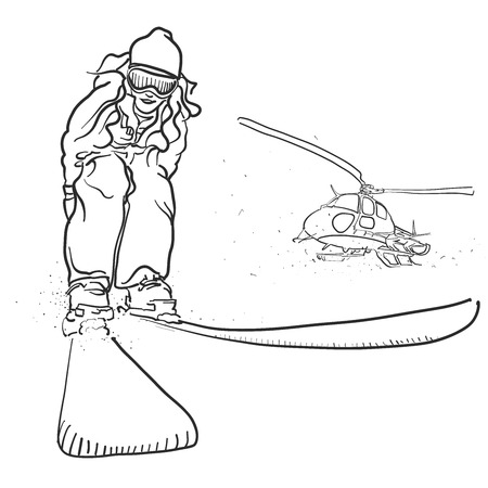 Skiing and Helicopter Doodle Sketches, Hand drawn Outline Artwork