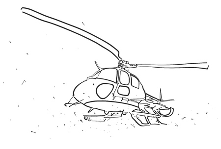 wide angle: Helicopter in wide angle Perspective Sketch, Hand drawn Outline Artwork