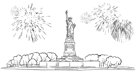 Statue of Liberty with Firework Illustration, Hand drawn Outline Artwork Illustration