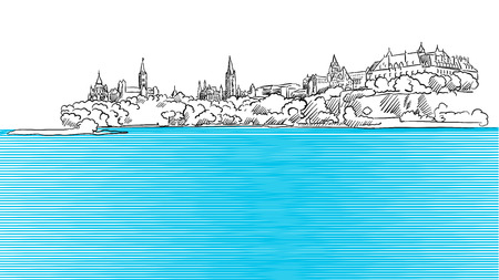 Ottawa Panorama Sketch seen from Ontario River, Hand drawn Outline Artwork Ilustração