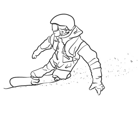 snowboarder: Freestyle Snowboarder takes Curve Sketch, Hand drawn Outline Artwork
