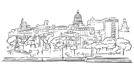 Havana Cuba Panorama Outline Sketch, Hand drawn Outline Artwork