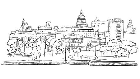 Havana Cuba Panorama Outline schets, getrokken hand Outline Artwork