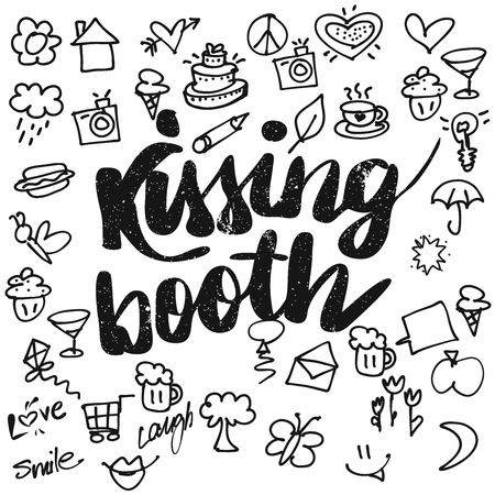 typo: Kissing booth Typo and Doodles Illustration